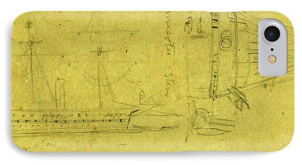 Broadside And Stern Views Of Steamship Minnesota IPhone Case