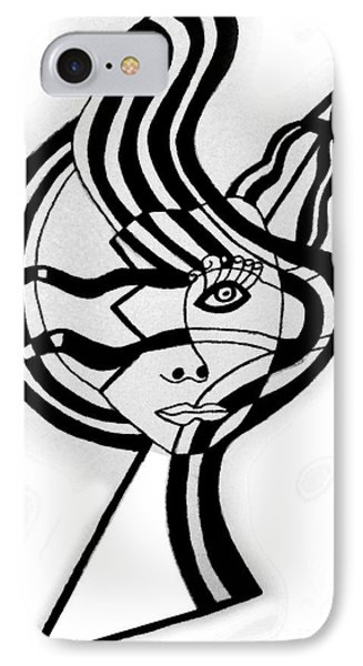Broken Face With Design IPhone Case by Christine Perry
