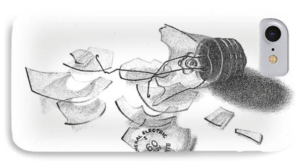 Broken Light Bulb Sketch Phone Case by Conor O'Brien