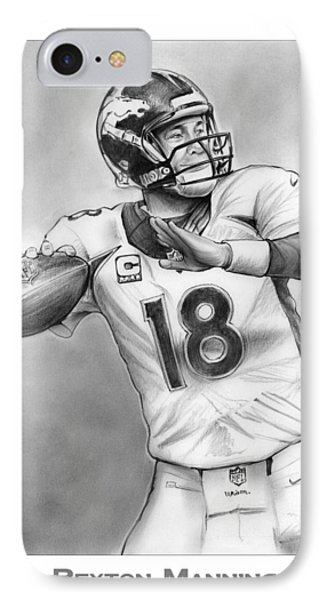 Broncos Peyton Manning IPhone Case by Greg Joens