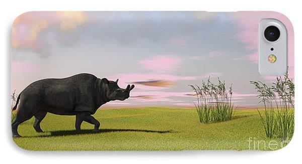 Brontotherium Grazing In Prehistoric Phone Case by Kostyantyn Ivanyshen