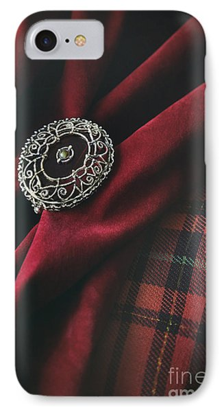 Brooch With Red Velvet And Green Plaid IPhone Case by Sandra Cunningham