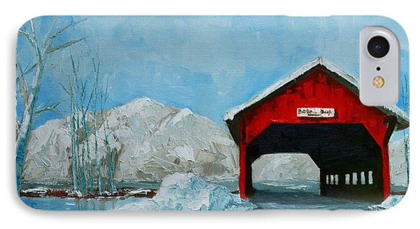 Brookdale Bridge Vermont Stowe Winter Scene IPhone Case by Patricia Awapara