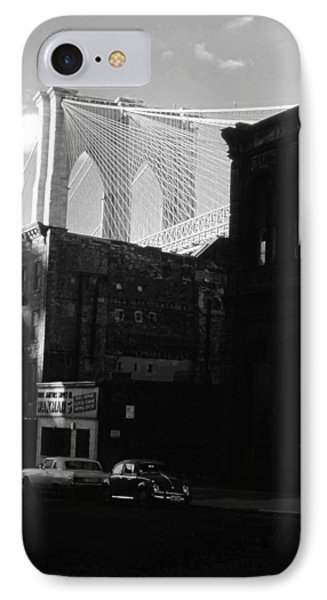 IPhone Case featuring the photograph Brooklyn Bridge 1970 by John Schneider