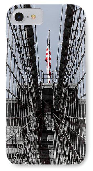 Brooklyn Bridge American Flag IPhone Case by Rafael Quirindongo