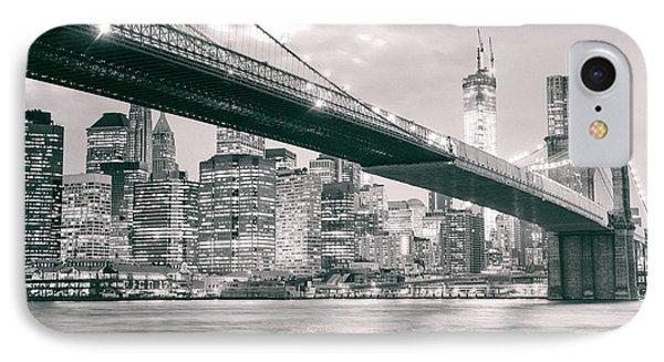Brooklyn Bridge And New York City Skyline At Night IPhone Case by Vivienne Gucwa