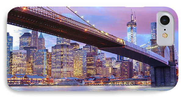 City Sunset iPhone 7 Case - Brooklyn Bridge And New York City Skyscrapers by Vivienne Gucwa