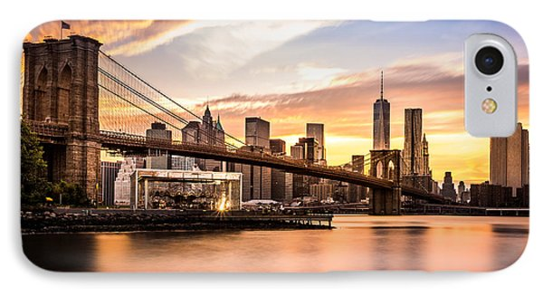 Brooklyn Bridge At Sunset  IPhone Case by Mihai Andritoiu