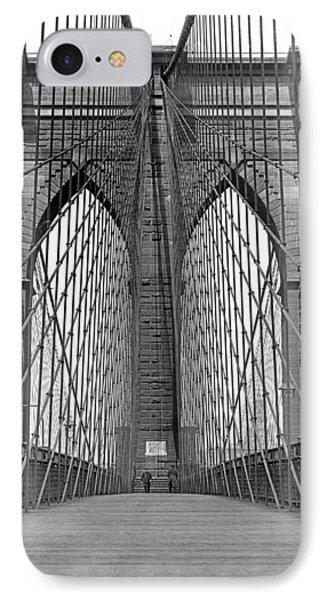 Brooklyn Bridge Promenade IPhone Case by Underwood Archives