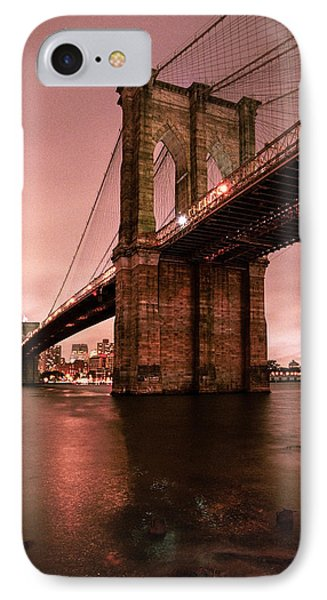 Brooklyn Bridge - Red Morning Phone Case by Gary Heller