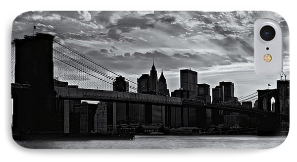 Brooklyn Bridge Sunset Bw IPhone Case by Susan Candelario
