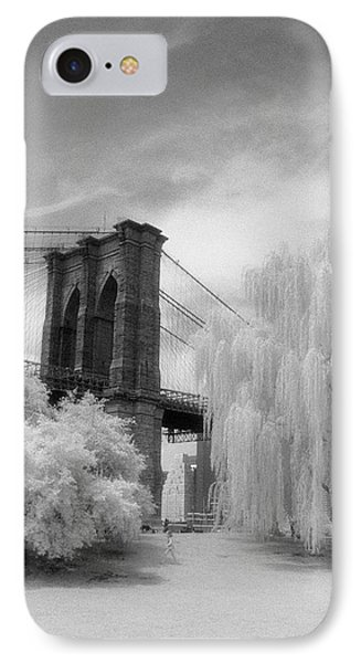 IPhone 7 Case featuring the photograph Brooklyn Bridge Willows by Dave Beckerman