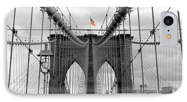 Brooklyn Bridge With American Flag IPhone Case by Ramona Johnston