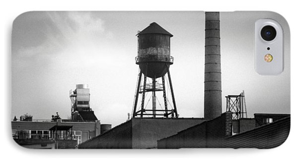 IPhone Case featuring the photograph Brooklyn Water Tower And Smokestack - Black And White Industrial Chic by Gary Heller