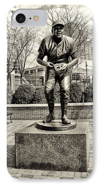 Brooks Robinson Statue At Oriole Park At Camden Yards In Sepia IPhone Case by Bill Cannon