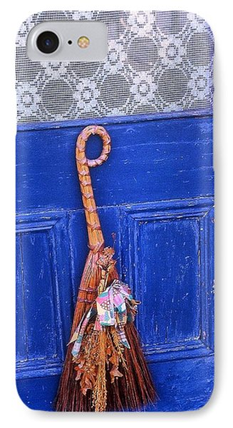 IPhone Case featuring the photograph Broom On Blue Door by Rodney Lee Williams