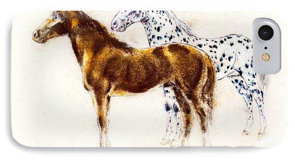 Brown And Appaloosa Horse Phone Case by Kurt Tessmann