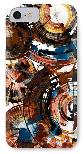 Brown And Blue Spherical Joy - 992.042212 IPhone Case by Kris Haas