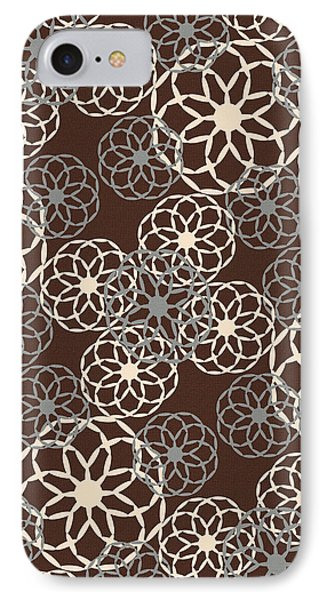 Brown And Silver Floral Pattern IPhone Case