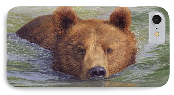 Brown Bear Painting Phone Case by David Stribbling