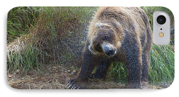 Brown Bear Shaking Water Off After An Unsucessful Salmon Dive Phone Case by Dan Friend