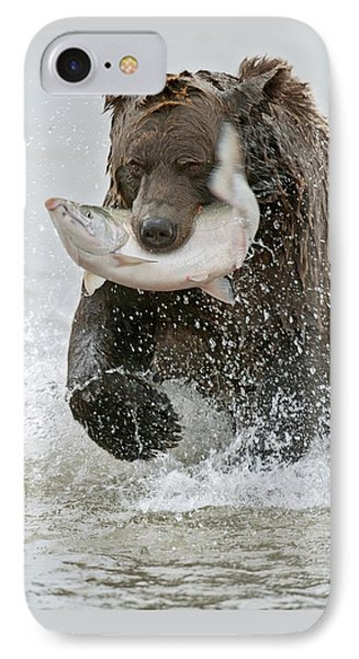 Salmon iPhone 7 Case - Brown Bear With Salmon Catch by Gary Langley
