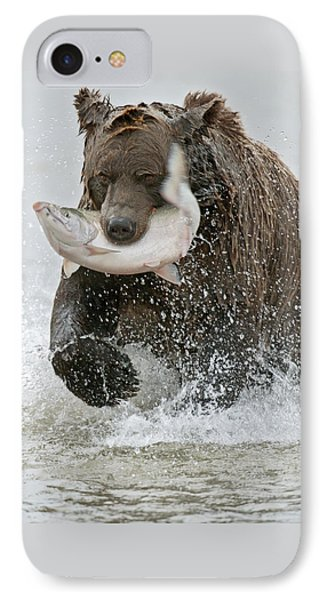 Brown Bear With Salmon Catch Phone Case by Gary Langley