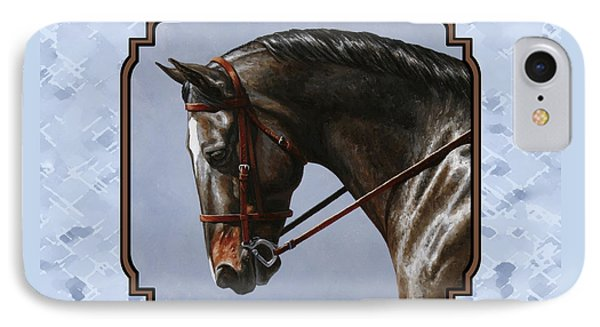 Brown Dressage Horse Pillow Blue IPhone Case by Crista Forest