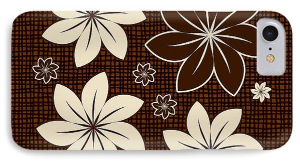 Brown Floral Design Phone Case by Gaspar Avila