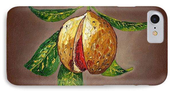 IPhone Case featuring the painting Brown Glow Nutmeg by Laura Forde