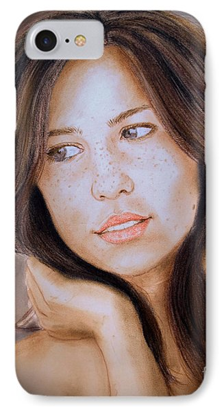 Brown Haired And Lightly Freckled Beauty Fade To Black Version IPhone Case