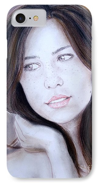 Brown Haired And Lightly Freckled Beauty Phone Case by Jim Fitzpatrick