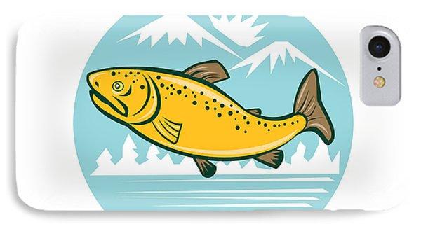 Brown Trout Jumping Circle Cartoon IPhone Case by Aloysius Patrimonio