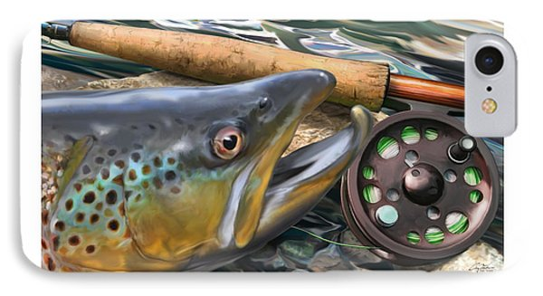 Brown Trout Sunset IPhone Case by Craig Tinder