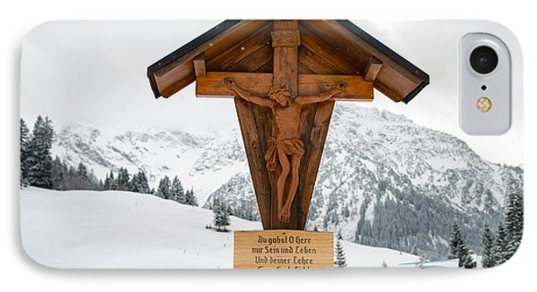 Brown Wayside Crucifix In The Mountains In Winter With Snow IPhone Case