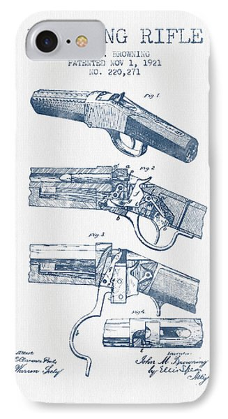 Browning Rifle Patent Drawing From 1921 -  Blue Ink IPhone Case by Aged Pixel