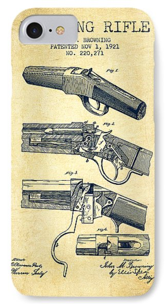 Browning Rifle Patent Drawing From 1921 - Vintage IPhone Case by Aged Pixel