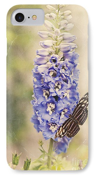 Brownish Butterfly In Delphinium IPhone Case