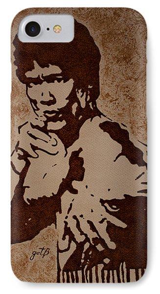Bruce Lee Original Coffee Painting Phone Case by Georgeta Blanaru