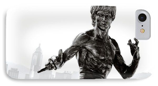 Bruce Lee Statue On The Avenue Of Stars With Hong Kong Skyline IPhone Case