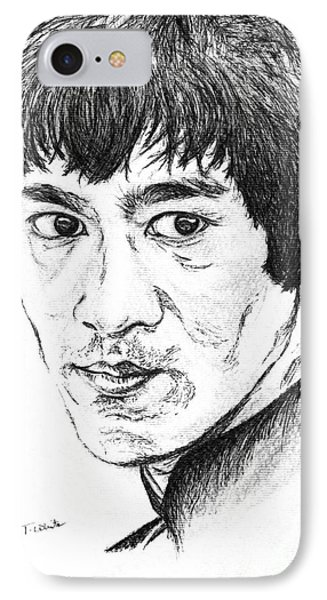 IPhone Case featuring the drawing Bruce Lee by Teresa White
