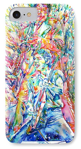 Bruce Springsteen And Clarence Clemons Watercolor Portrait IPhone Case by Fabrizio Cassetta