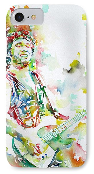 Bruce Springsteen Playing The Guitar Watercolor Portrait.2 IPhone Case