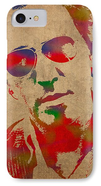Bruce Springsteen Watercolor Portrait On Worn Distressed Canvas IPhone Case by Design Turnpike