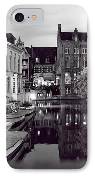 Bruges Canal In Black And White IPhone Case