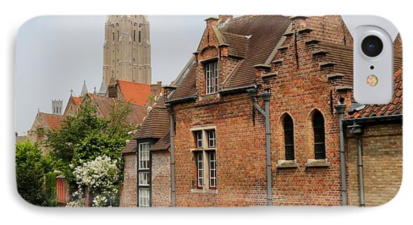 Bruges Houses With Bell Tower Phone Case by Carol Groenen