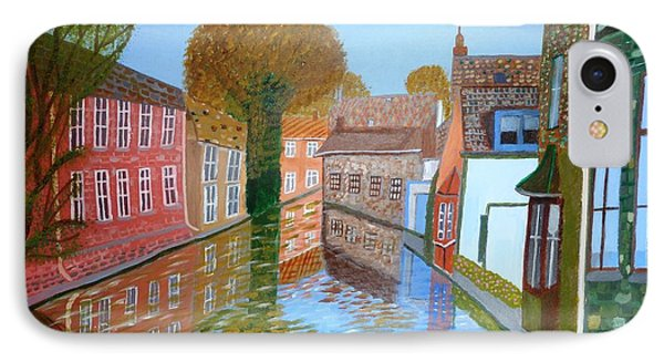 IPhone Case featuring the painting Brugge Canal by Magdalena Frohnsdorff