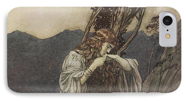 Brunnhilde Kisses The Ring That Siegfried Has Left With Her Phone Case by Arthur Rackham