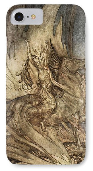 Brunnhilde On Grane Leaps IPhone Case by Arthur Rackham