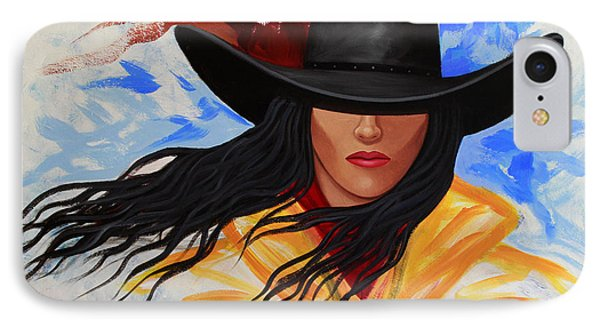 Brushstroke Cowgirl #3 IPhone Case by Lance Headlee
